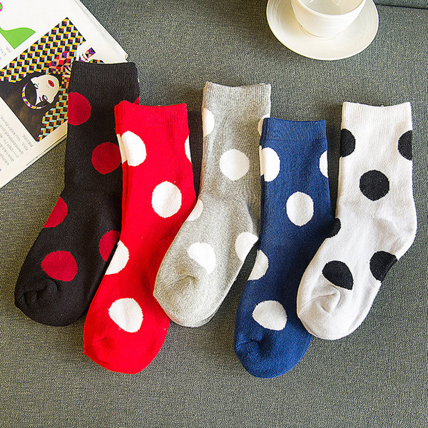 Women Ladies Dot Printed Cotton Blend Socks Harajuku Style Mid-Calf Hosiery Stockings