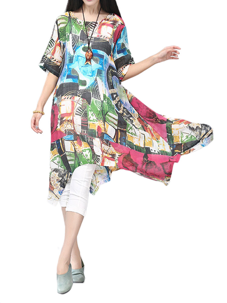 Loose Women Printing High Low Cotton Linen Dress