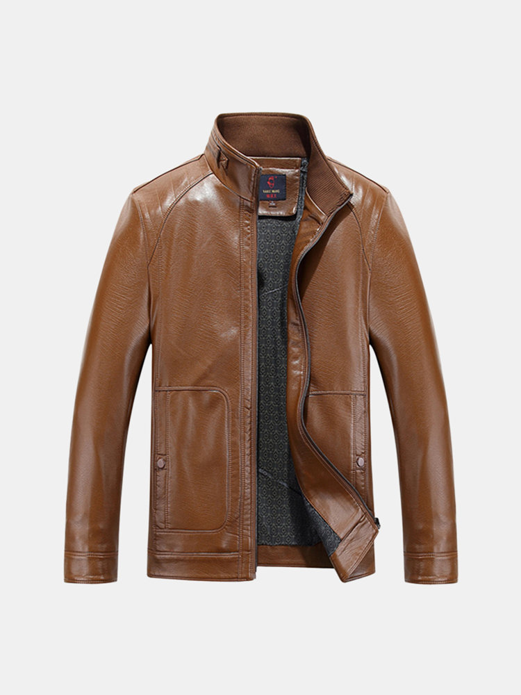 Casual Outdoor Stand Collar PU Leather Jacket Button Cuff Solid Color Coat for Men