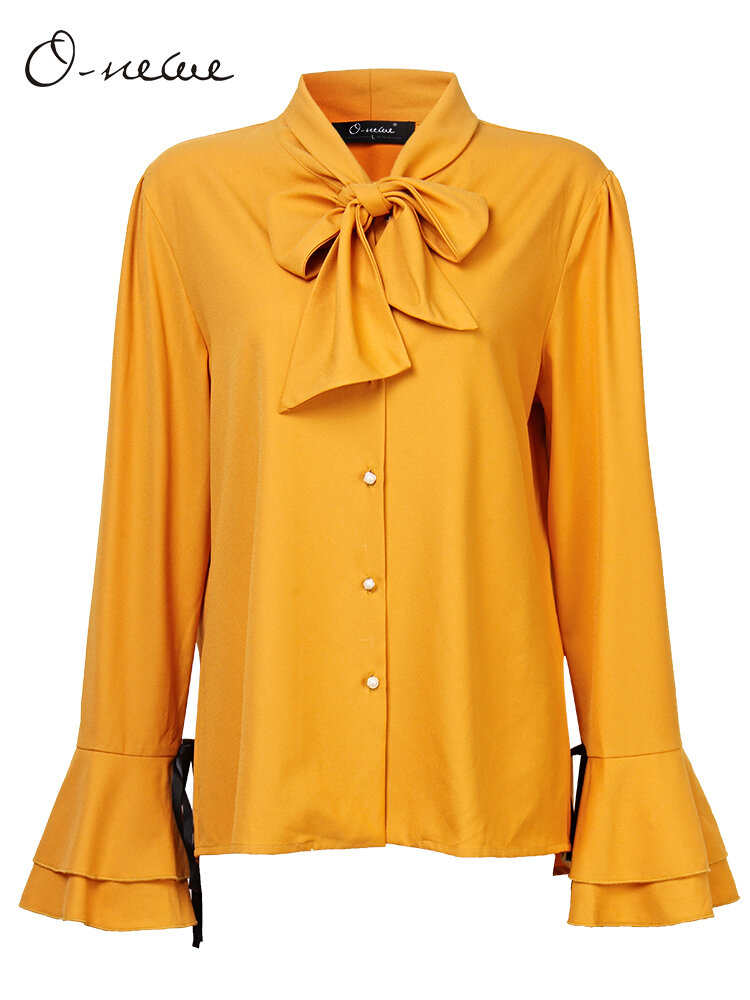 O-NEWE Elegant Solid Bowtie Flare Sleeve Party Blouse For Women
