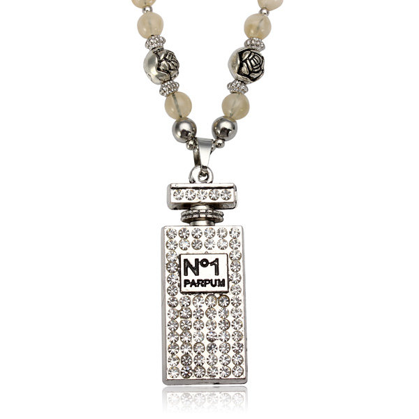Crystal Perfume Bottle Shape Beads Chain Necklace