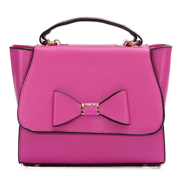 Women Bowknot Leather Crossbody Shoulder Bag