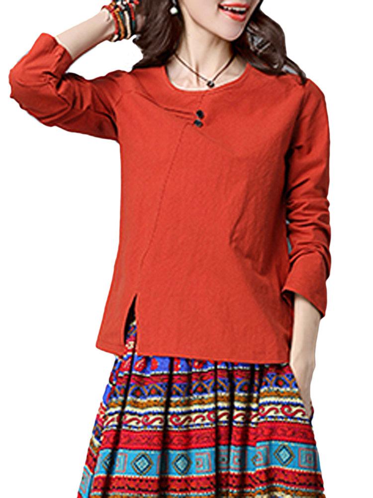 Краткая Pure Color Split элегантных женщин с длинным рукавом Блузка