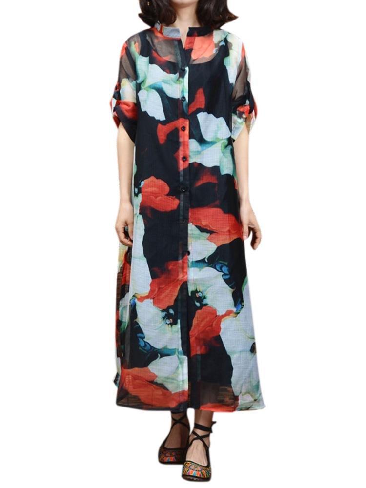 Женщины с коротким рукавом нагрудные Цветочные Печатный Две пьесы Урожай платье