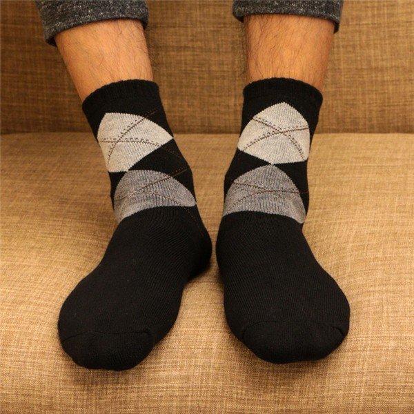 Мужская осень Зимние виды спорта дышащий Толстые Секс Ромб Средний Труба хлопчатобумажные носки