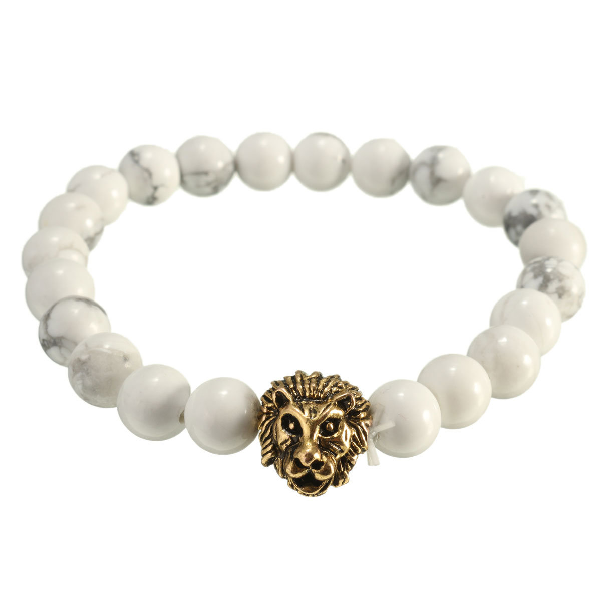 White Turquoise Lion Head Beaded Stretch Bracelet