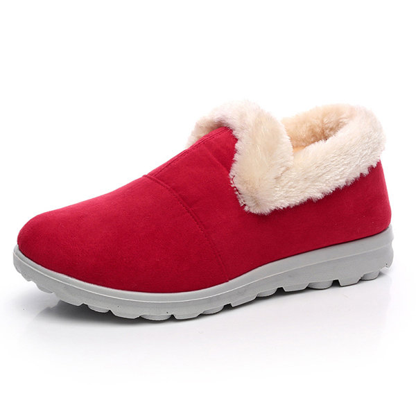 Fur Warm Lining Slip On Pure Color Flat Cotton Boots