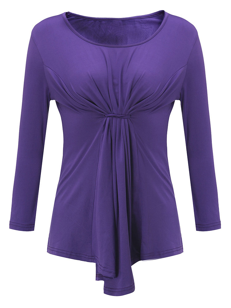 Casual Pure Color Ruffle O-Neck Long Sleeve Tops For Women