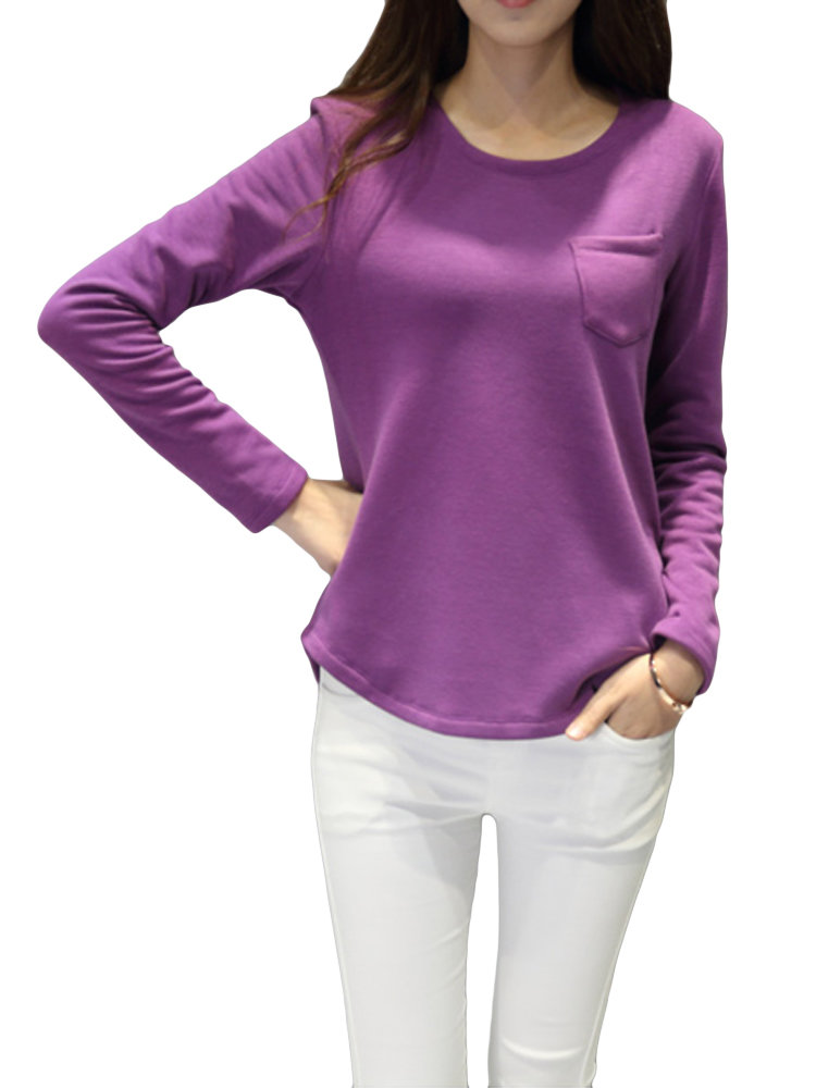 Women Plus Size Solid O-Neck Long Sleeve Thicken Cotton Blouse