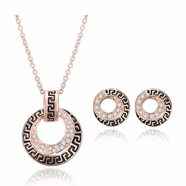 Rose Gold Alloy Crystal Circle Jewelry Set