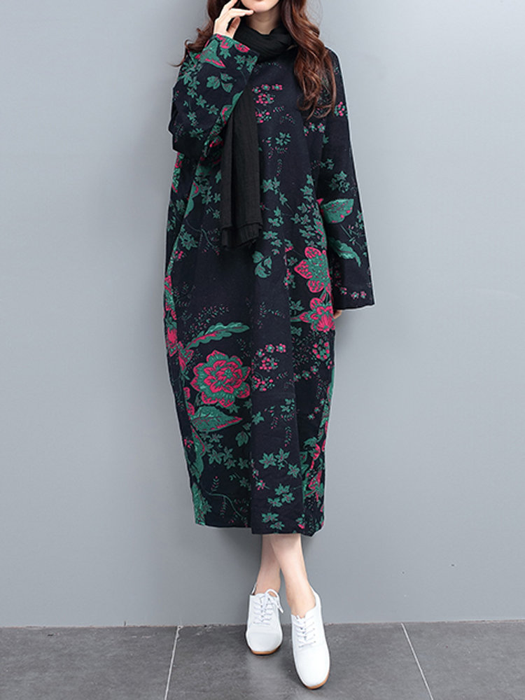 Floral Printed Cocoon Retro Style Loose Long Sleeve Robe Dress