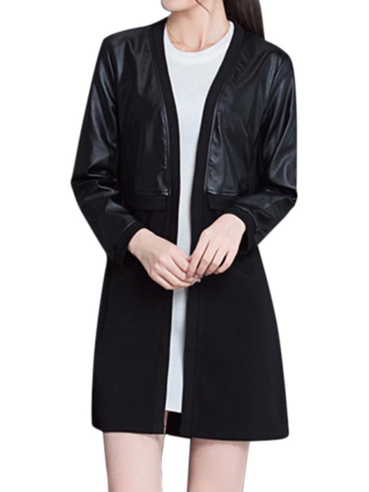 Elegant Loose Pure Color Long Sleeve Patchwork Mid-Length Cardigan For Women