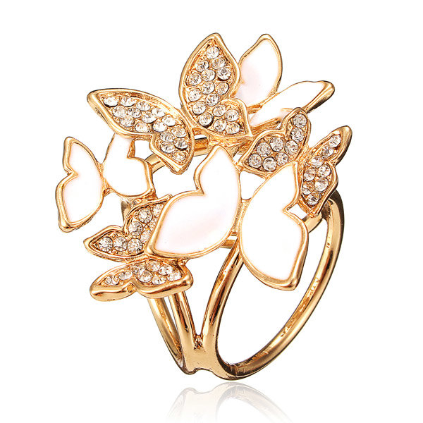 Сплав Кристалл бабочка три кольца шарфы Пряжка Брошь