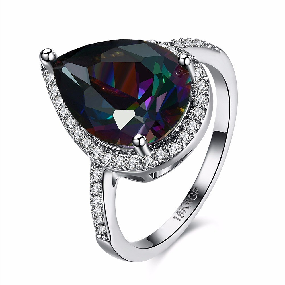 Sweet Wedding Ring Water Drop Rainbow Zircon Women Ring