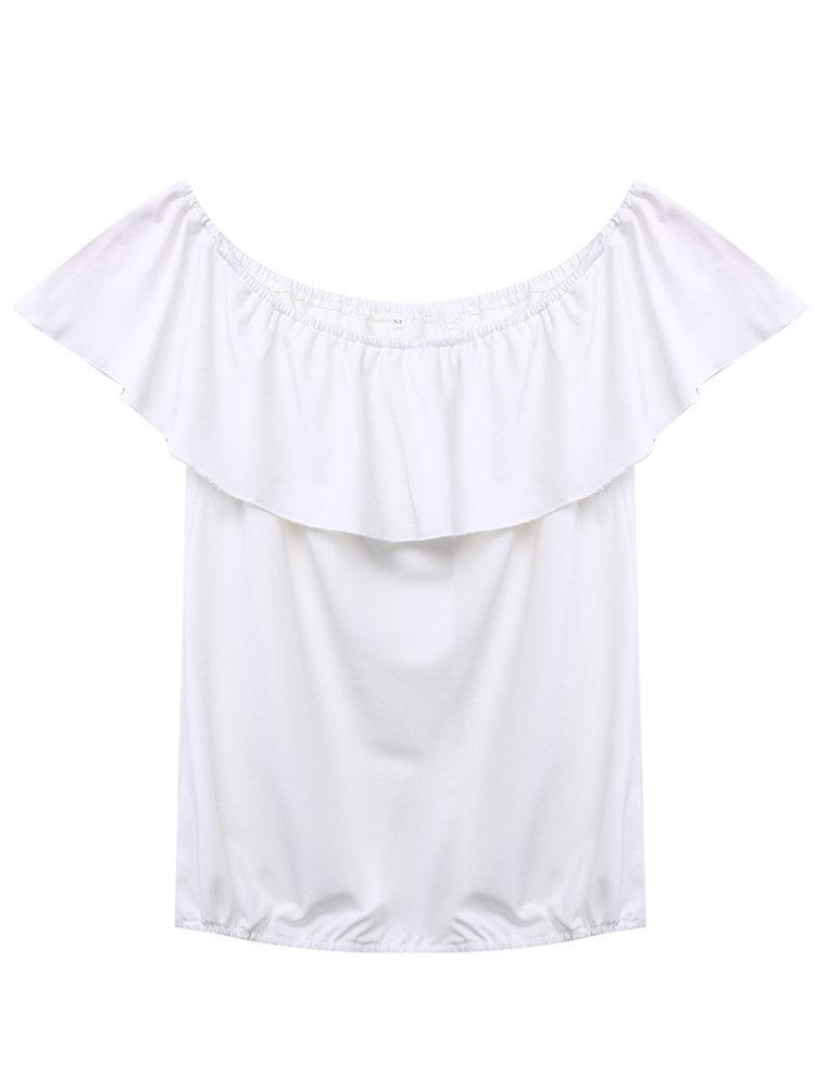 Женщины плеча оборками Pure Color Повседневный Блуза
