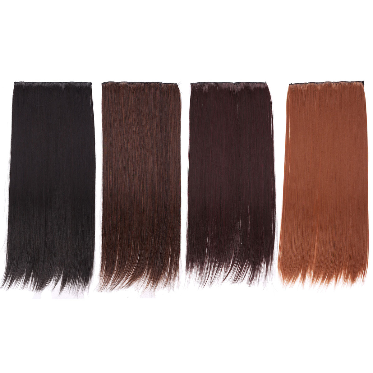 Women Full Head Clip Hair Extensions Long Straight Wig With 5 Clips 4 Colors
