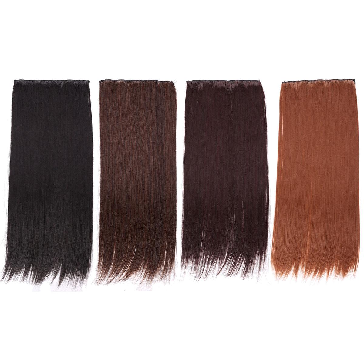 Женщины Full Head зажим выдвижений волос длинный прямой парик с 5 зажимами 4 цвета