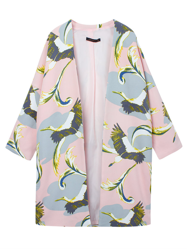 Crane Print V-Neck Three Quarter Sleeve Trench Coat