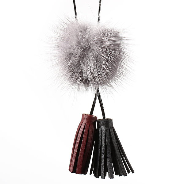 Sweet Necklace Wool Ball Double Color Tassel Sweater Necklace