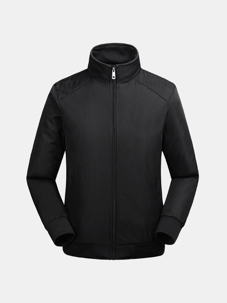 Mens Fall Winter Outdoor Breathable Stand Collar Casual Solid Color Jacket