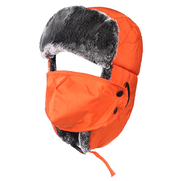 Men Women Fluffy Earmuff Buckle Hat With Face Mask Outdoor Bomber Earflap Cap