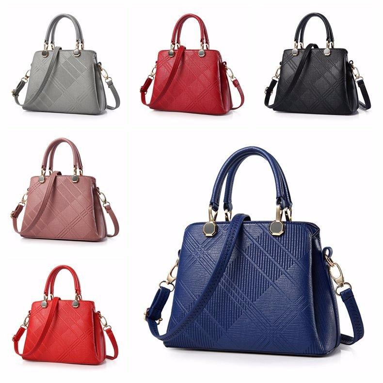 Women Pu Leather Embossing Sling Bag Elegant 3 Compartments Print Handbags Crossbody Bags