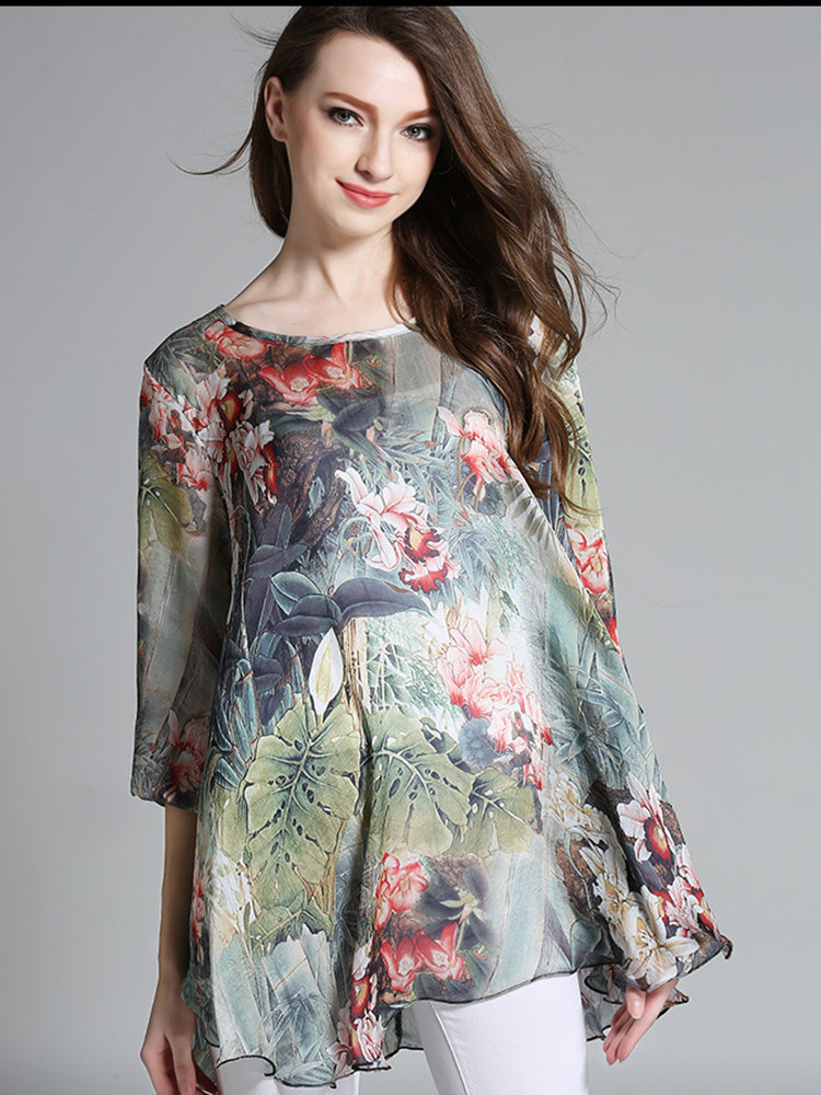 Elegant Flower Printing High Low Chiffon T-shirt For Women