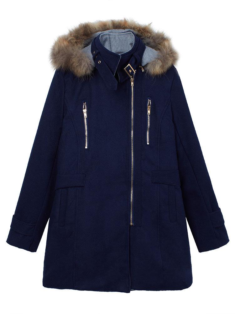 Съемный меховой капюшоном Лоскутная двойная молния шерстяные пальто