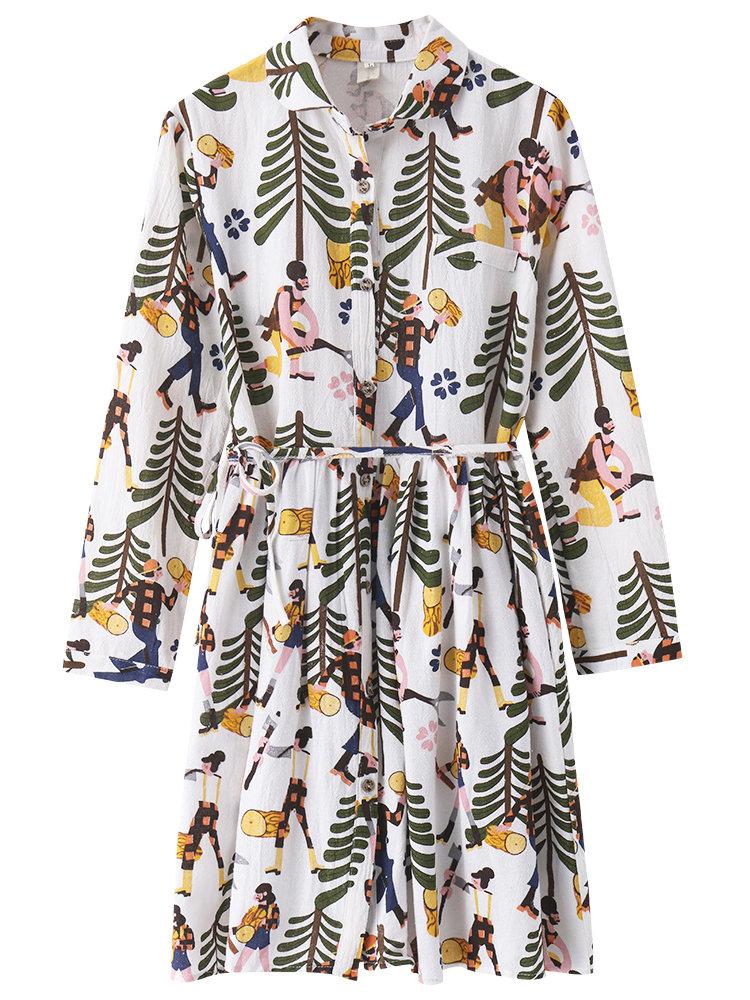 Women Printed Long Sleeve Lapel High Waist Cotton Dress