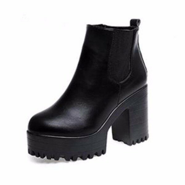 Pure Color Pu European Style Slip On Ankle Chunky Heel Block Zipper Boots