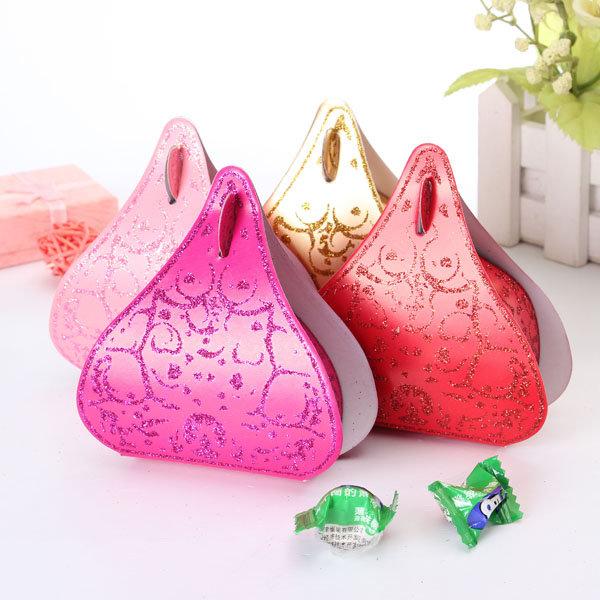 100шт Романтический персик сердца Блеск коробка конфет венчания Box порошок