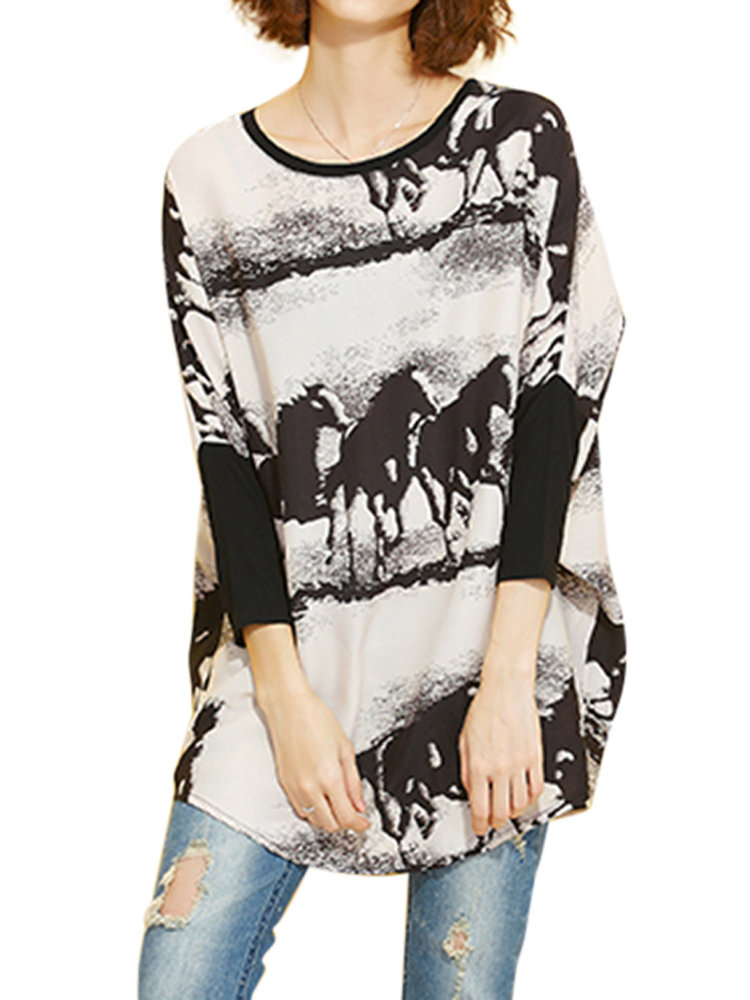 Autumn Casual Brief Horse Printing Batwing Sleeve Blouse For Women