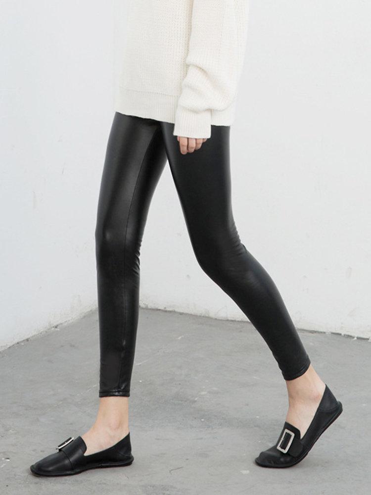 Women PU Slim High Wasit Leggings Black Skinny Pants