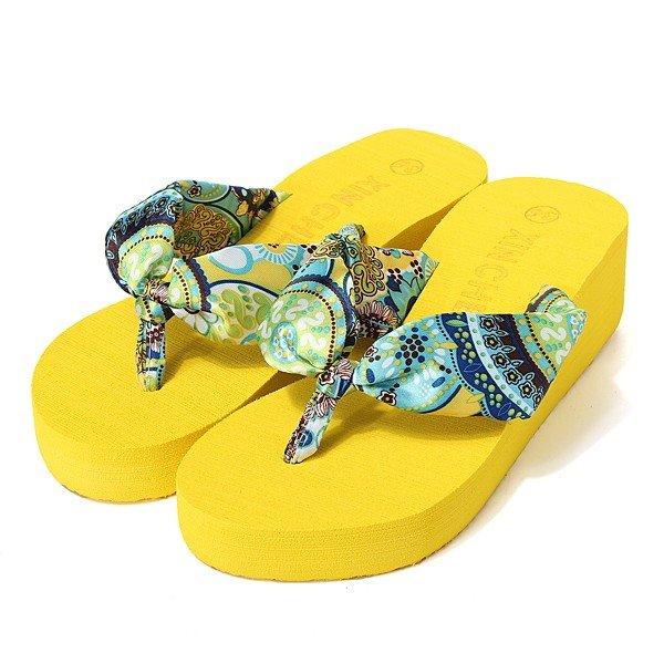 Bohemia Clip Toe High Heel Beach Ourdoor Slippers