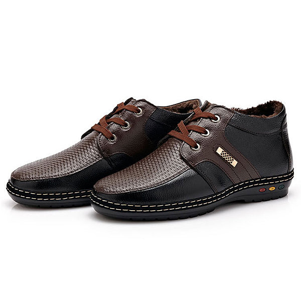 Men Color Match Metal Leather Keep Warm Lace Up Oxford Shoes