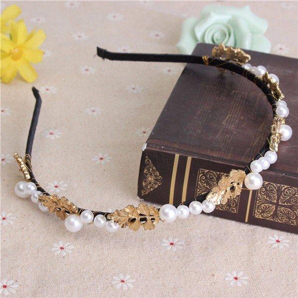 Luxury Retro Leaf Pearl Hair Hoop Wide-brimmed Flowers Diamond Metal Headband