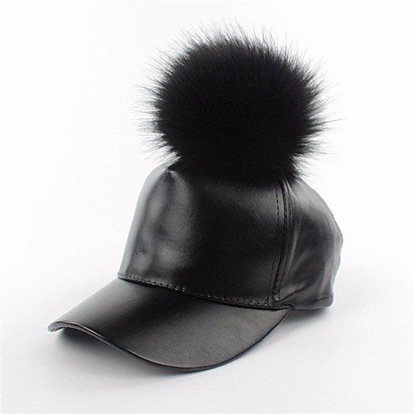 Мужчины Женщины Черная кожа Бейсболка Регулируемая Fur Ball Hat