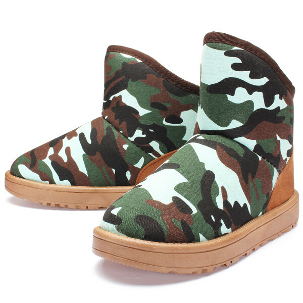 Women Canvas Camouflage Ankle Snow Boots