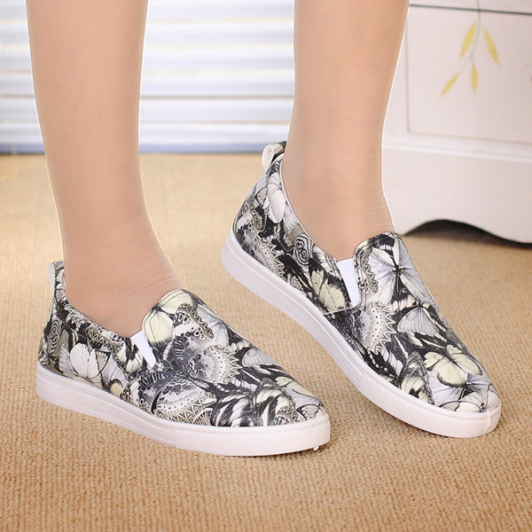 Colorful Pattern Pu Floral Print Butterfly Color Match Slip On Flat Loafers