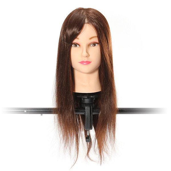 22 Inch 70 Percent Brown Real Hair Cutting Training Mannequin Head With Clamp