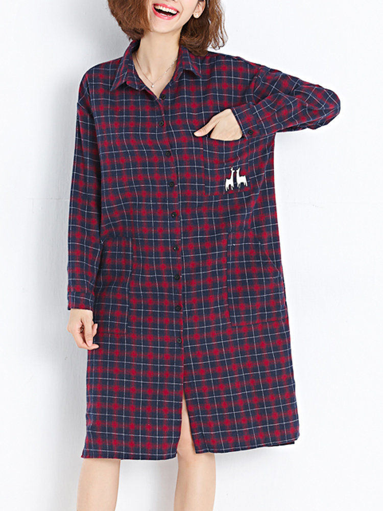 Checked Letter Printed Long Sleeve Casual Basic Women Long Shirt