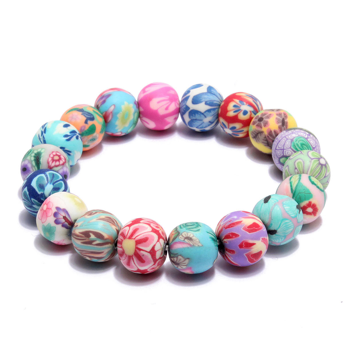 Colorful Fimo Flowers Beads Bracelet