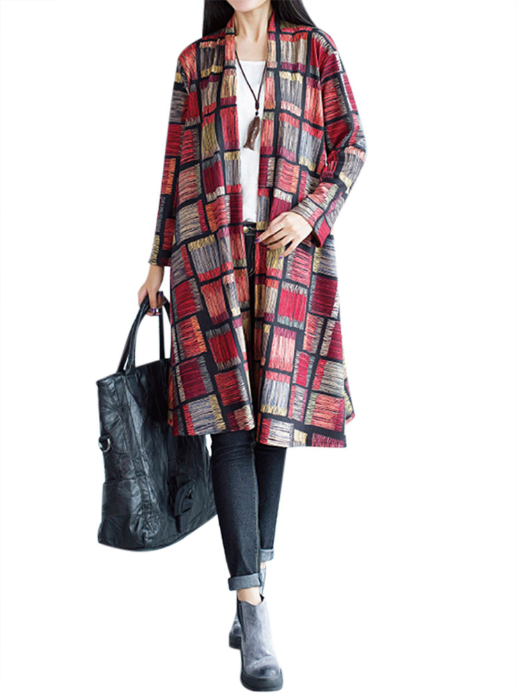 Ethnic Vintage Printing Plaid Long Sleeve Cardigan For Women