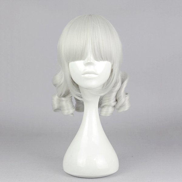Silver-White Wavy Cosplay Wig Synthetic Fiber of High-Temperature Anime Party Costume Hair Full Bang