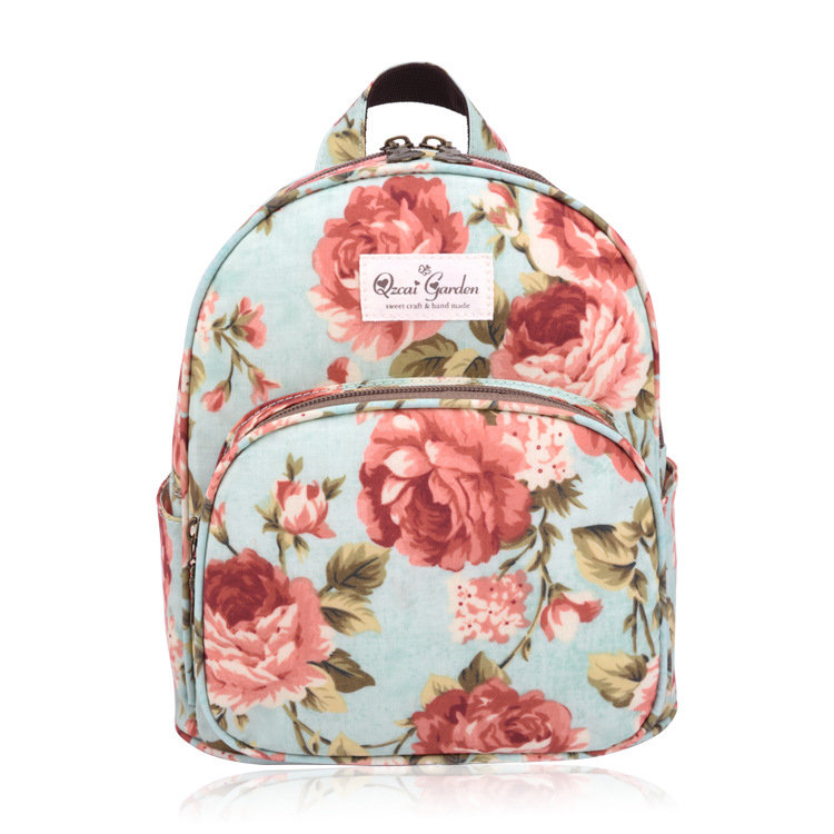 Women Fashion Floral Frosted Material Backpack Cartoon Casual School Bag