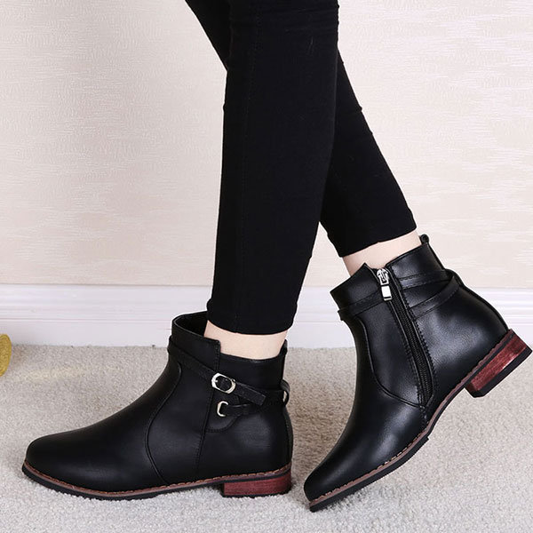 Fashion Buckle Zipper Slip On Ankle Pure Color Boots