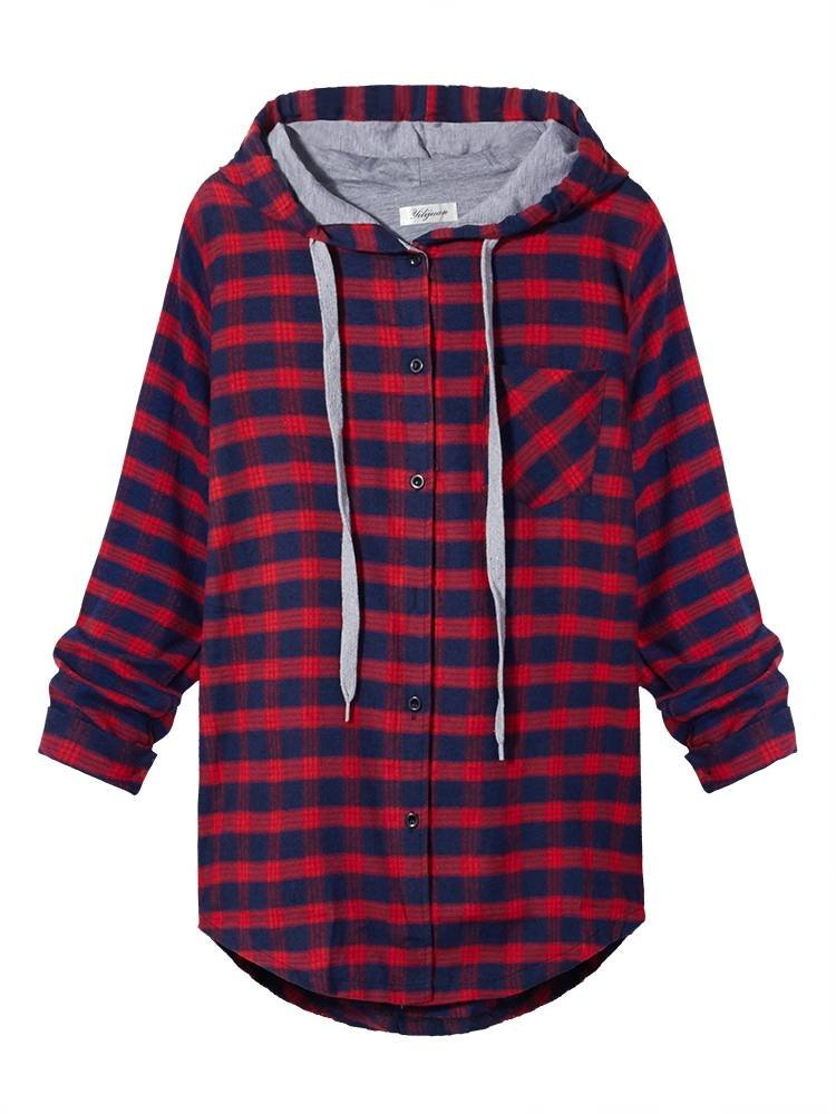 Women Plus Size Casual Plaid Hooded Cotton Blouse