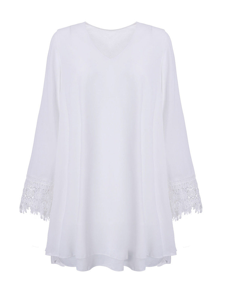 Casual Chiffon Crochet Solid Color V-Neck Long Sleeve Blouse