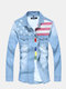 Mens Spring Fall Washed Denim Patchwork Long Sleeve Slim Fit Casual Cotton Shirts