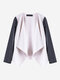 Women Casual Leather Stitching Long Sleeve Cardigan